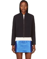 3.1 Phillip Lim Navy Folded_shoulder Cropped Bomber Jacket - Lyst