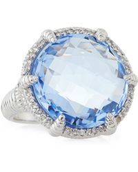Judith Ripka White Sapphire Micro-Pave Quartz Eclipse Ring blue - Lyst