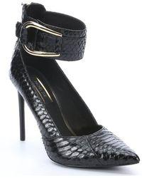 Rachel Zoe Black Python Snakeskin Cassandra Pointed Toe Pumps - Lyst