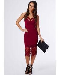 Missguided Harriet Eye Lash Lace Bodycon Dress Burgundy - Lyst