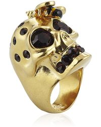Alexander McQueen Gold Bee and Skull Cocktail Ring - Lyst