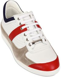 Dior Homme Perforated Leather And Suede Sneakers white - Lyst