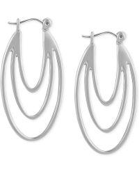 T Tahari - Silver-tone Leverback Drop Earrings - Lyst