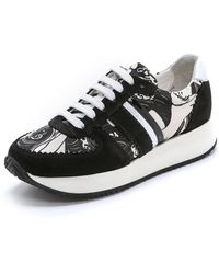 Carven Print Panel Suede Sneakers - Black/White - Lyst