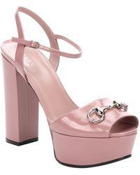 Gucci Phard Pink Leather Horsebit Detail Peep Toe Sandals - Lyst