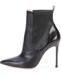 Gianvito Rossi Stretch Leather Ankle Boot - Lyst