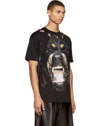 Givenchy Black Rottweiler Print Star_studded T_shirt - Lyst