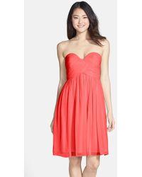 Donna Morgan Women'S 'Morgan' Strapless Silk Chiffon Dress - Lyst