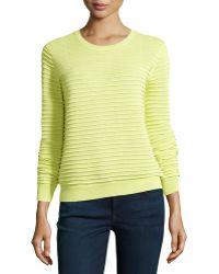 Halston Heritage Textured-stripe Knit Sweater - Lyst