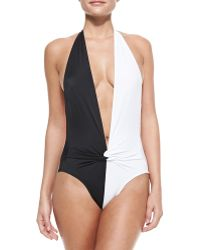Norma Kamali Twist-front Plunge One-piece Swimsuit - Lyst