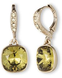 Givenchy Gold Tone and Peridot Crystal Drop Earrings - Lyst