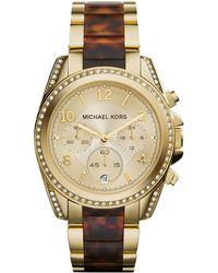Michael Kors Mid-Size Golden Stainless Steel Blair Chronograph Glitz Watch - Lyst