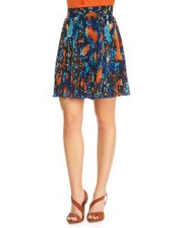 Catherine Malandrino Printed Pleated Aline Skirt - Lyst