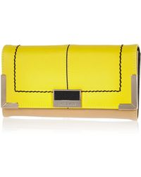 River Island Yellow Foldover Branded Purse - Lyst