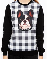 Asos Sweatshirt in Check with French Bulldog Print - Lyst