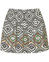 Topshop Aztec Beaded Skirt - Lyst
