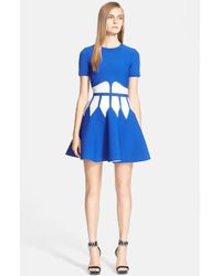 Alexander McQueen  Intarsia Knit Fit and Flare Dress - Lyst
