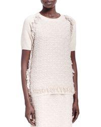 Lanvin Tweed-Front Short-Sleeve Sweatshirt - Lyst