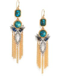 Alexis Bittar Elements Gilded Muse D'Ore Chrysocolla & Crystal Spiked Tassle Chandelier Earrings - Lyst