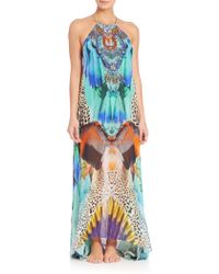 Camilla | Sheer-overlay Silk Maxi Dress | Lyst