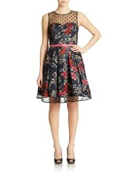 Eliza J Illusion Fit And Flare Dress - Lyst