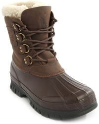 Polo Ralph Lauren Brown Leather And Wool Duck Boots - Lyst
