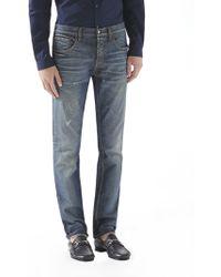Gucci Stonewashed Stretch Denim Skinny Jeans - Lyst