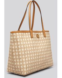 Tory Burch Tote Kerrington Rattan Natural Printed Shopper - Lyst