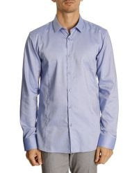 Hugo Micro Caviar Shirt With Blue Stitching Detail - Lyst