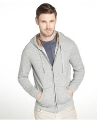 Burberry Brit Pale Grey Melange Cotton Hooded Checck Sweatshirt - Lyst