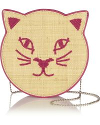 Charlotte Olympia Pussycat Embroidered Raffia and Leather Shoulder Bag - Lyst
