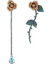 Betsey Johnson Patina Gold Flower Nonmatching Earrings - Lyst