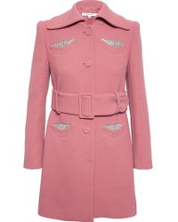 Carven Virgin Wool Coat with Jeweled Pockets - Lyst