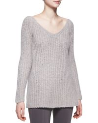 Donna Karan New York Long-Sleeve V-Neck Sweater - Lyst