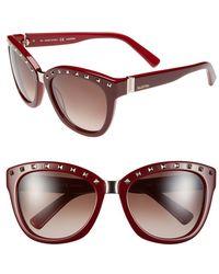 Valentino 'Rockstud' 55Mm Studded Sunglasses - Rouge Noir - Lyst