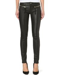Diesel Lgoidy Zipdetail Leather Trousers Black - Lyst