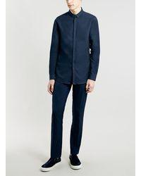 Topman Navy Long Sleeve Oxford Shirt - Lyst