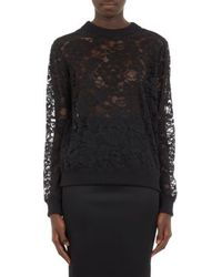 Givenchy Zip-Shoulder Lace Sweatshirt - Lyst