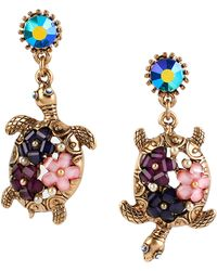 Betsey Johnson - Into The Blue Floral Turtle Mismatch Drop Earrings - Lyst