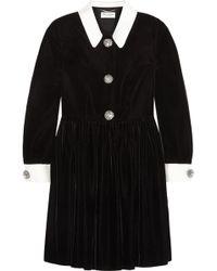 Saint Laurent Silktrimmed Embellished Velvet Mini Dress - Lyst