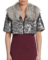 Marc Jacobs Fox Fur Collar Embellished Bed Jacket - Lyst