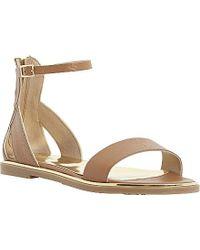 Dune Lanna Metallic-Trim Leather Sandals - Lyst
