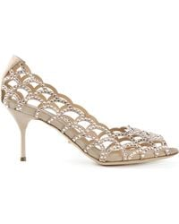 Sergio Rossi Cut-Out Embellished Pumps - Lyst