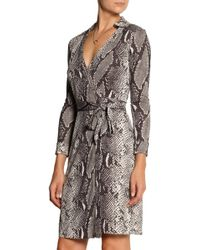 Diane Von Furstenberg New Jeanne Pythonprint Silkjersey Wrap Dress - Lyst