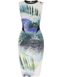 Karen Millen Palm Tree Print On Signature Stretch Dress - Lyst