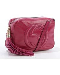 Gucci Berry Highgloss Leather Stitched Gg Disco Crossbody Shoulder Bag - Lyst