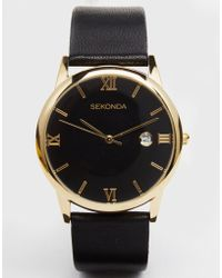 Sekonda - Leather Strap Watch With Gold Plated Dial - Lyst