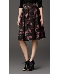 Burberry Abstract Graphic Print Silk Skirt - Lyst
