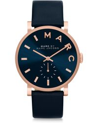 Marc By Marc Jacobs Baker Rose Goldtone Stainless Steel & Leather Strap Watch/Navy - Lyst
