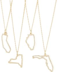 Maya Brenner Designs - Pave Diamond State Necklace - Lyst